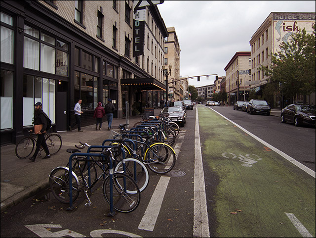 Bike corral in downtown Portland