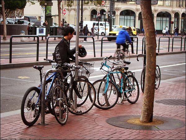 Bikes Parked on San Francisco's Market St.