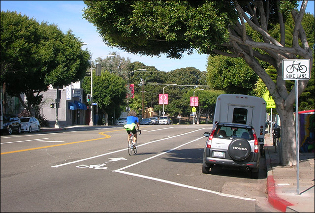 New bike lanes on Main Street in Venice, California