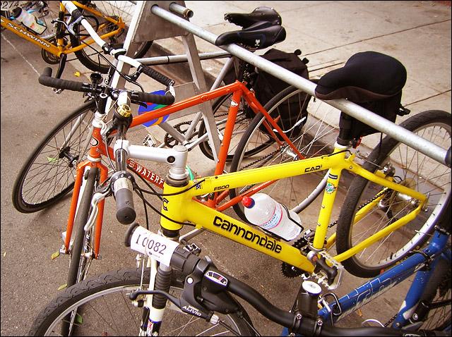 Diversity of bikes at the Santa Monica Farmers Market bike valet