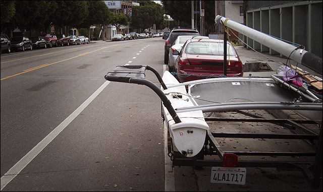 Main Street bike lane in Venice CA--blocked by a catamaran!