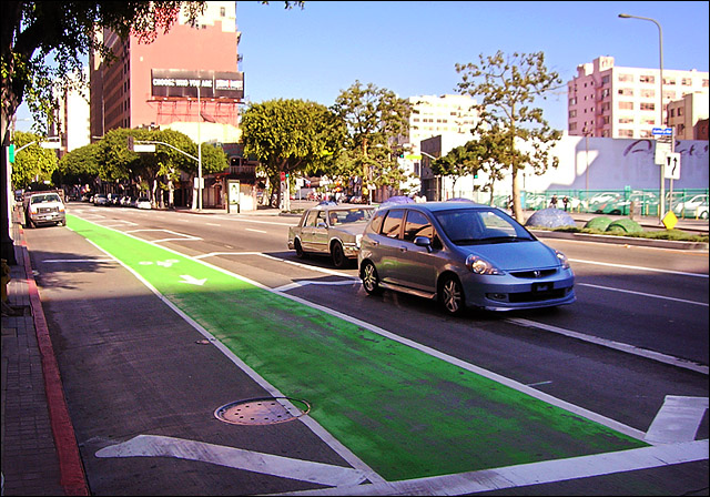 Spring Street's New Green Bike Lane