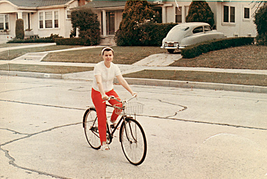 My mother riding my bike, junior high school days